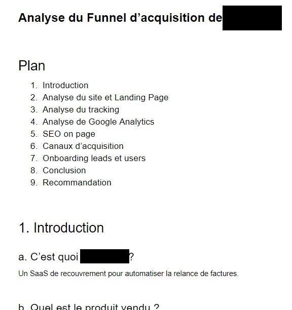 Exemple projet - Analyse du funnel d'acquisition - Wild Agency